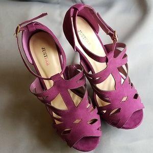 New Justfab platform heels, suede-like purple
